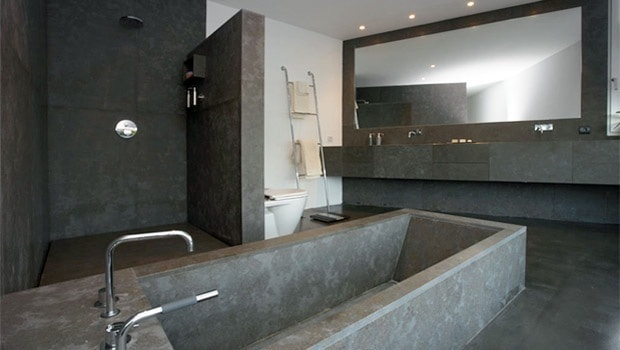 salle de bain en béton